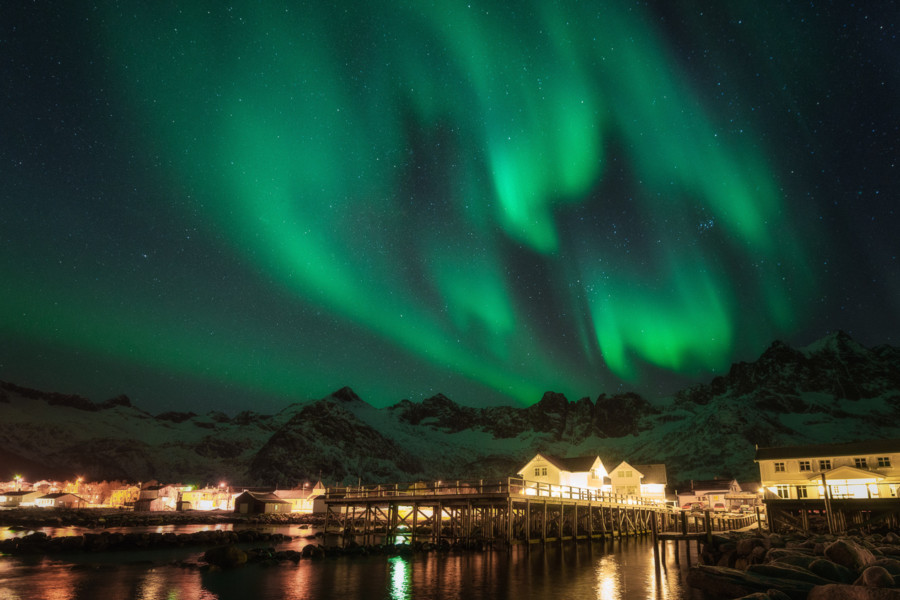 Mefjord Brygge Northern Lights by Henryk Bies